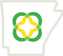 ARCF Logo Icon inside state of arkansas outline