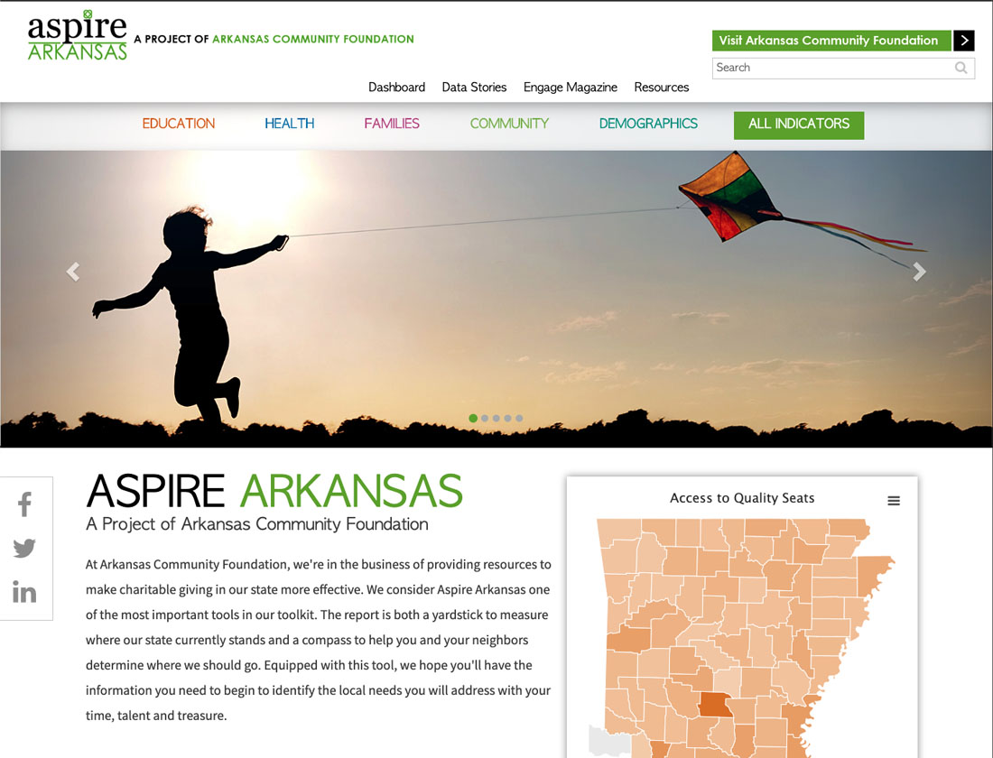 screenshot of aspire arkansas website homepage - features photo of kid flying kite with sun in background